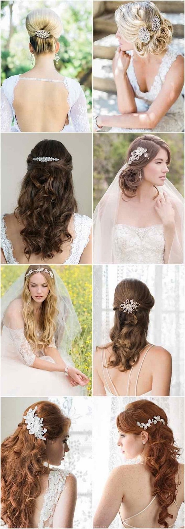 100 romantic long wedding hairstyles 2018 curls half up updos wedding hairstyles with gorgeous accessories from bel aire junglespirit Images