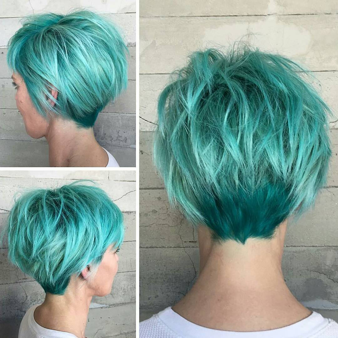 Green layered longer pixie haircut 2017