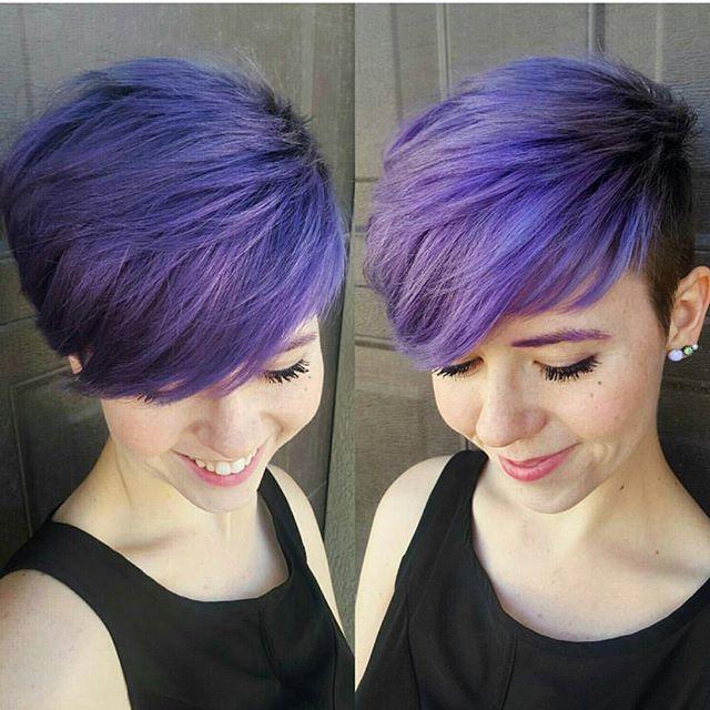 Edgy Purple Pixie Haircut With Long Bangs Short Hair Color Ideas