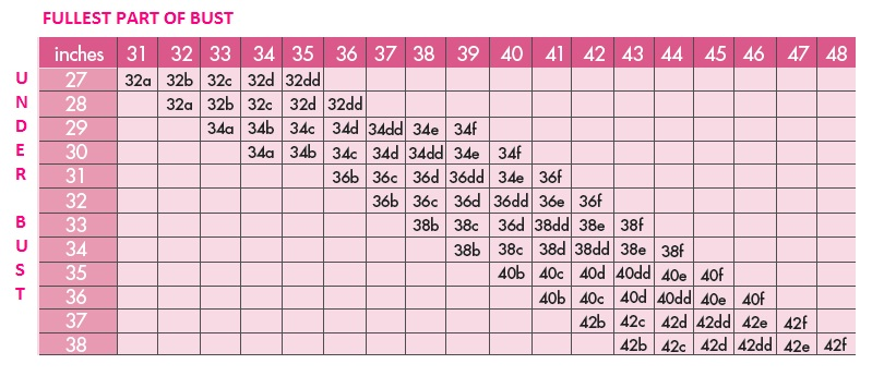 Use your measurements to determine your bra size by using the size charts below. Bra Size Chart > Band Size: Circumference around your chest, just below the bust. Measure in inches. For more details on band size measurement, see here.