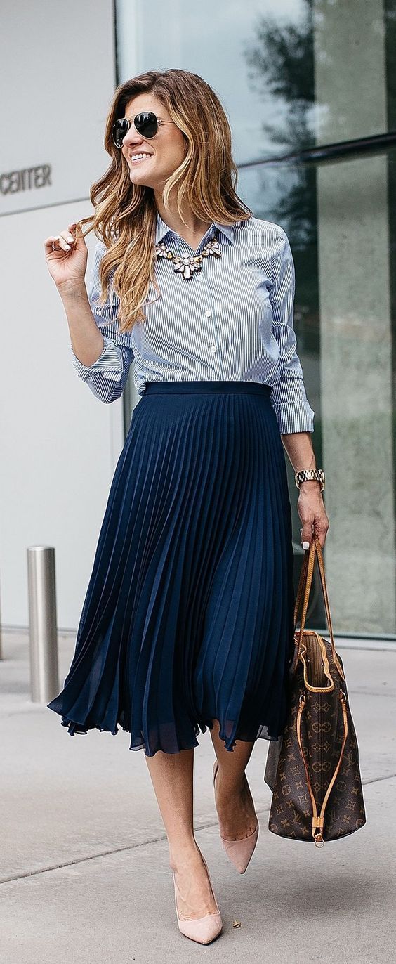 83cf2f0501 How to Wear Midi Skirts - 20 Hottest Summer  Fall Midi Skirt Outfit ...