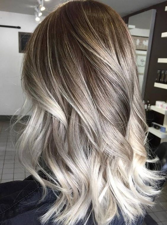 Cool Icy Ashy Blonde Balayage Highlights Shadow Root Waves And Curls Hair