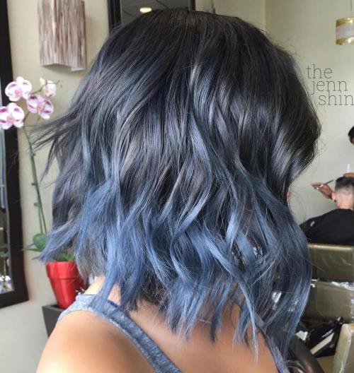 Ombre Hair Dark Brown To Blue
