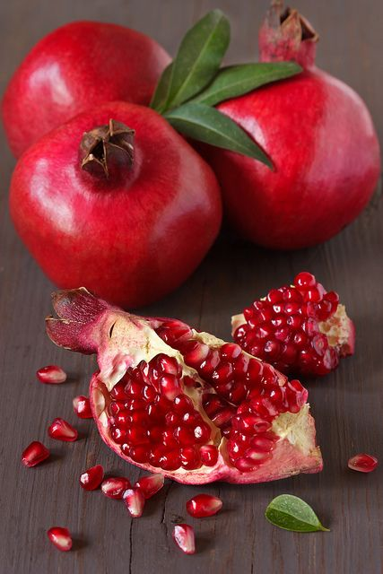 Pomegranates only ripen in warmer climates. They are in season starting in October and are usually available fresh through December. They are a good source of Vitamin C and Vitamin K and Dietary Fiber.