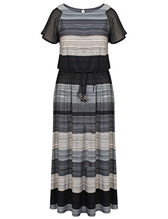 Chicwe Women's Plus Size Luxury Raglan Sleeves Maxi Dress With Belt 16, Multi Grey