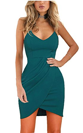 Zalalus Women's Bodycon Cocktail Party Dresses Deep V Neck Backless Spaghetti Straps Sexy Summer Short Casual Club Dress Above Knee Length Sleeveless Blue Small