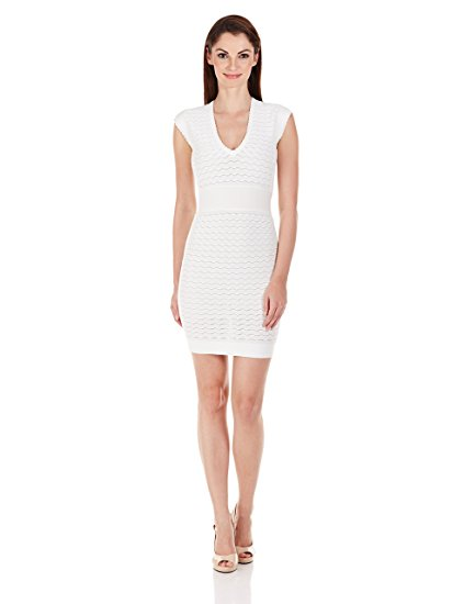 French Connection Women's Miami Dani Cap Sleeve V-Neck Dress, Summer White, 6