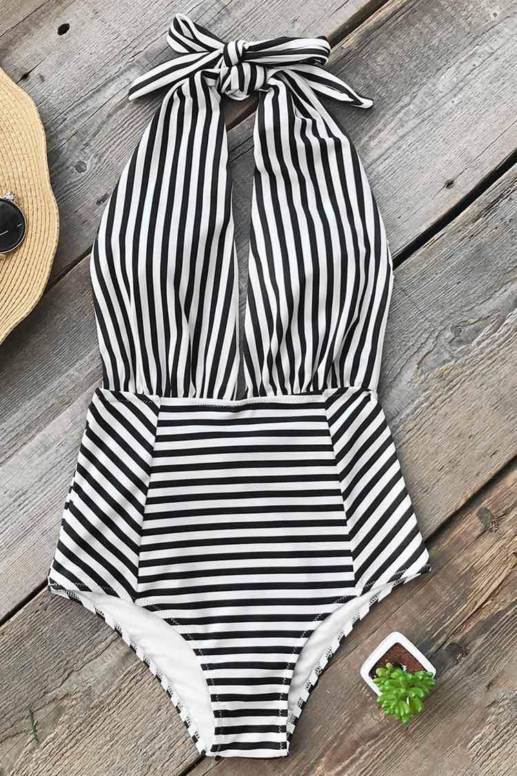 Farewell Cambridge Stripe One-piece Swimsuit