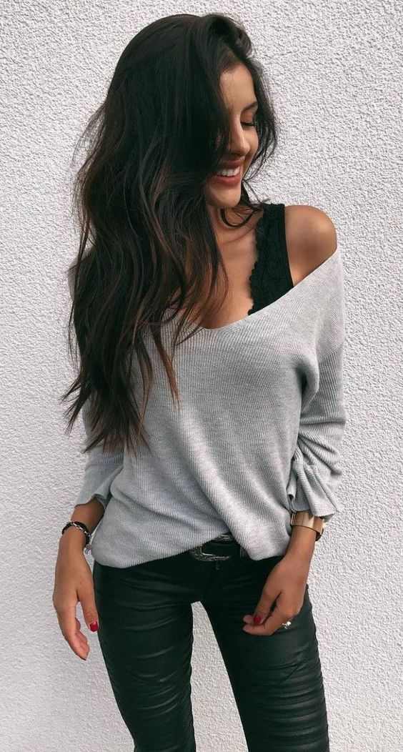 Off the shoulder shirt with black lace bra & jet black pants