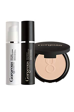 Gorgeous Cosmetics Complexion Perfection Foundation Makeup Kit, with Full Size Liquid Foundation, Powder Foundation and Makeup Primer, Shade - Skin Tone Fair