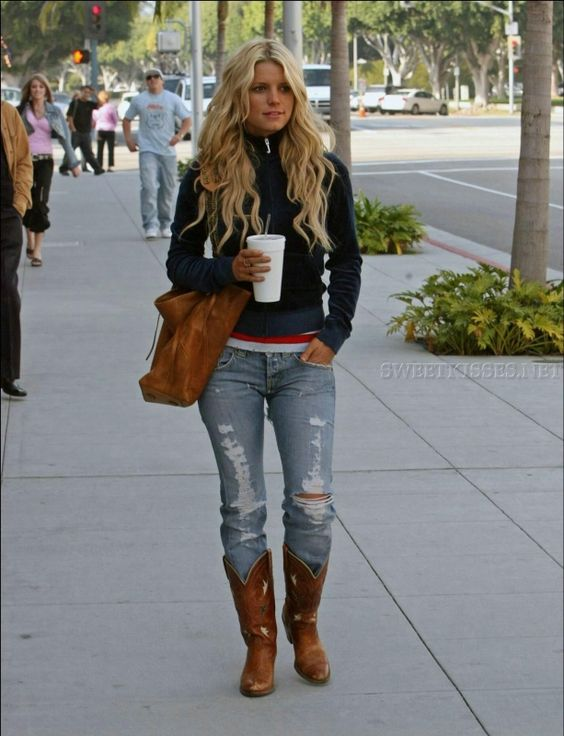 Jessica Simpson wearing Dingo Acme Boots Juicy Couture Dog Velour Zip Jacket in Navy Nation Ltd. Basic Stripes Tee