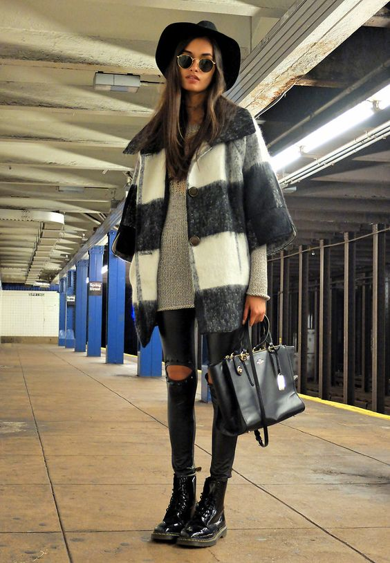 #newyork #streetstyle COAT, URBAN OUTFITTERS SWEATER, RAG & BONE SUNGLASSES, HAT, H&M BAG, COACH LEGGINGS, STYLE MOI BOOTS, DR. MARTENS