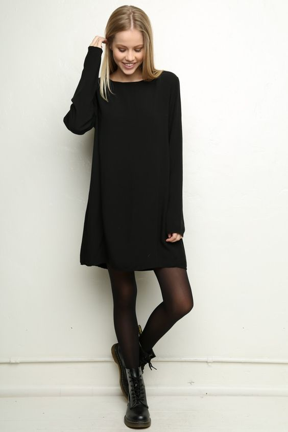 Lovely black dress, black tights, Dr Martens @thirzachloevdn ^