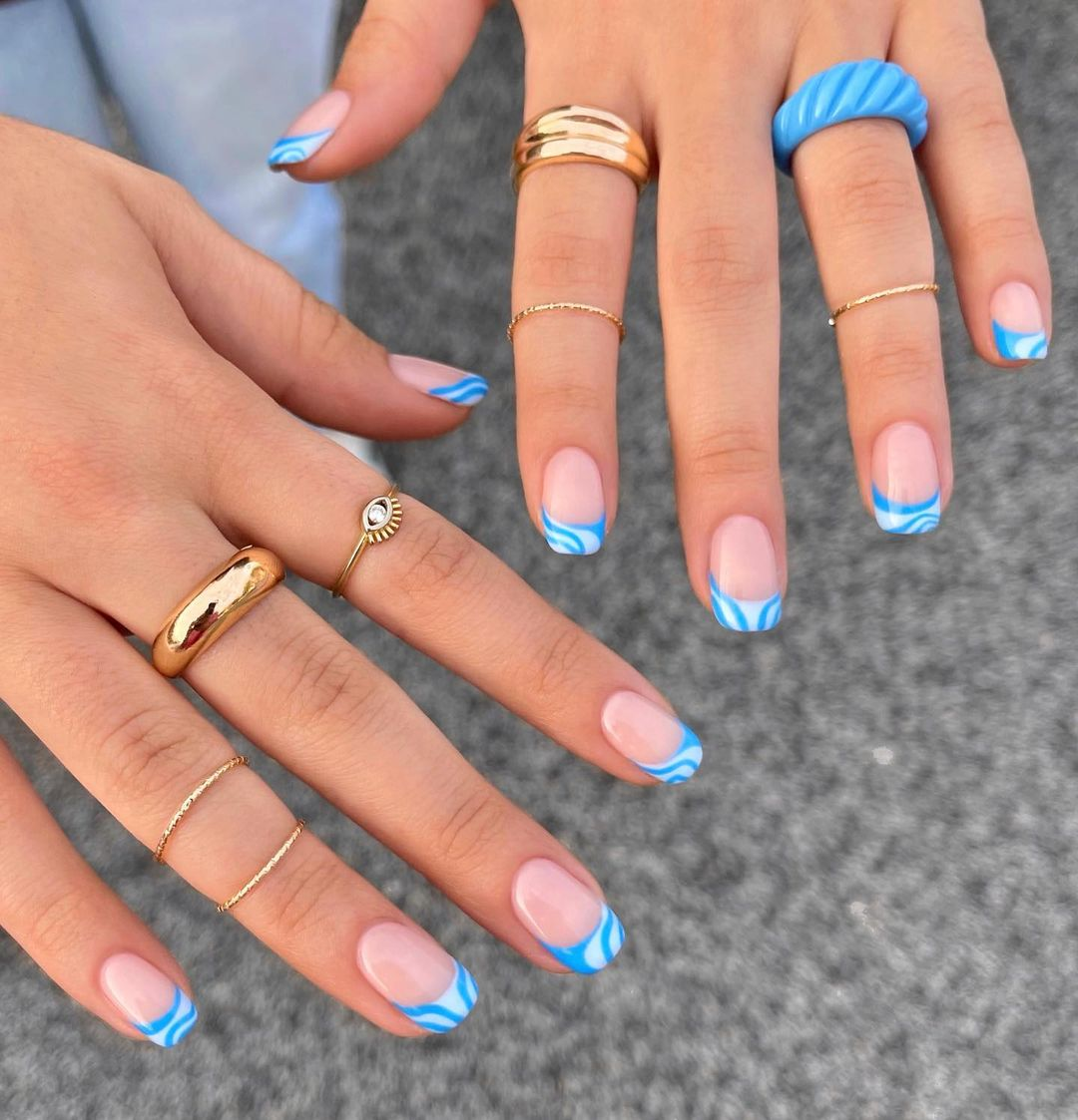cute blue white nails for summer