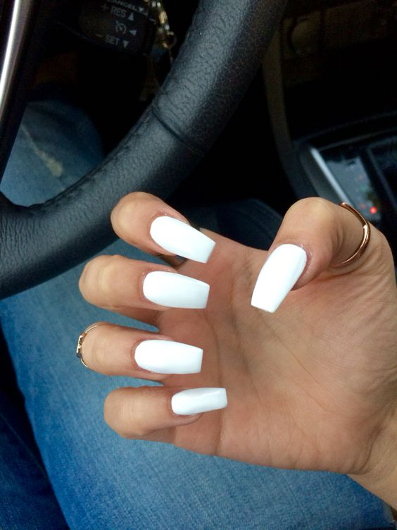 medium/long coffin acrylic nails! white prom nails are the classiest look