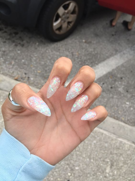 Clear mylar acrylic stiletto nails - maybe a little shorter