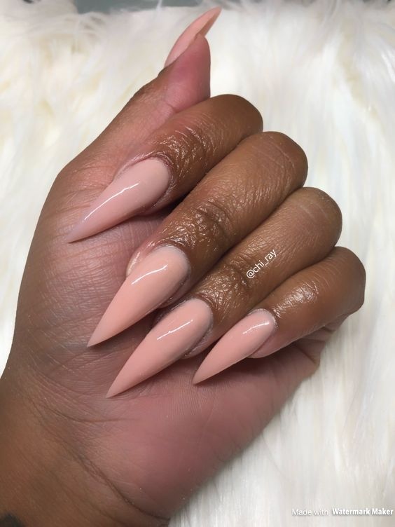 Nude Stiletto Nails Colored Acrylic No Polish Glam Long Nails #paintobsessed