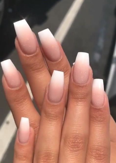 Nude ombre nails with white tip. Are you looking for short coffin acrylic nail design that are excellent for this season? See our collection full of cute short coffin acrylic nail design ideas and get inspired!