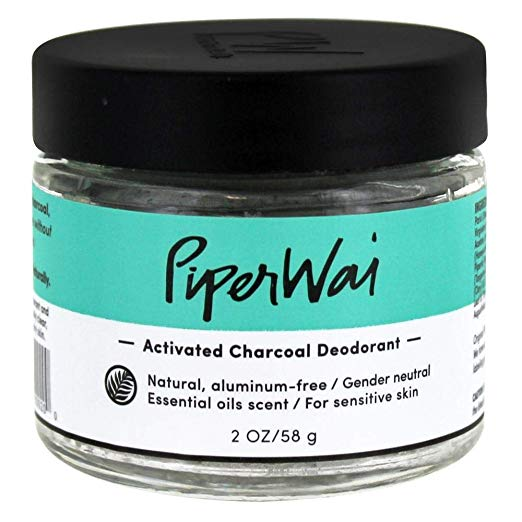 PiperWai Natural, Organic, Vegan, Non-Toxic, Cruelty-Free Aluminum-Free Charcoal Deodorant Jar (2 oz), Odor-Absorbing and Wetness Fighting, Coconut Oil, Gender-Neutral (As Seen on Shark Tank)