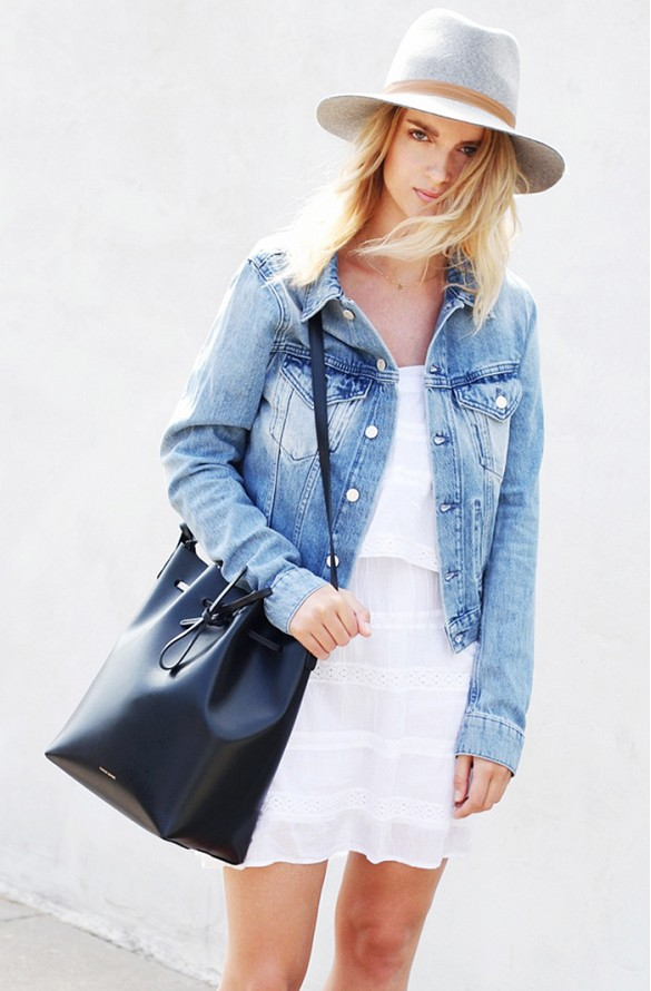 white-wrap-dress-summer-sundress-denim-jacket-black-bucket-bag-straw-hat-bbq-beach-pool-party-via-mija