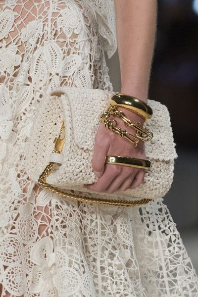 Crochet white bag Alexander McQueen at Paris Fashion Week Spring 2020