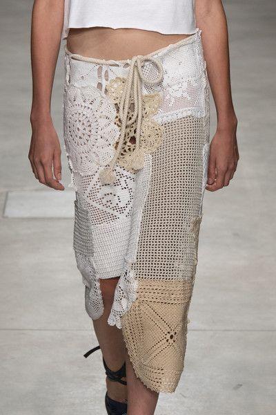 Granny square pattern and round crochet pattern summer skirt Marco Rambaldi at Milan Fashion Week Spring 2020