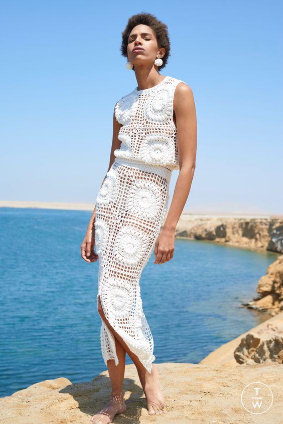 Granny square pattern white summer dress
