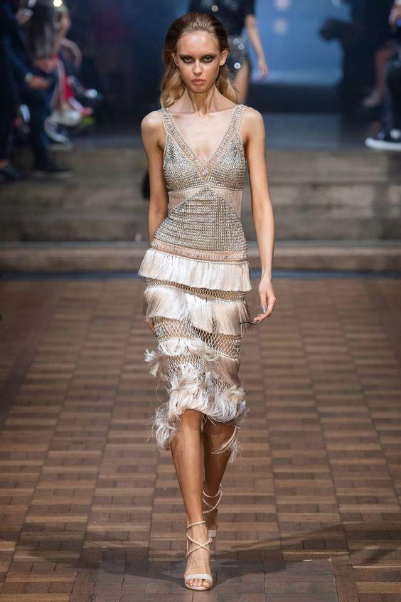 Tiered skirt metallic dress