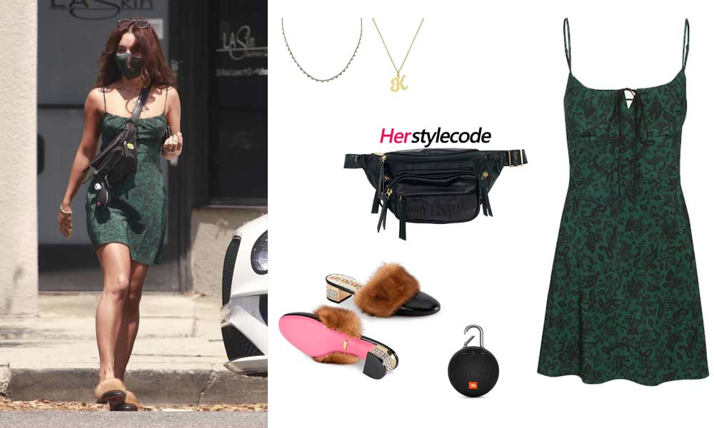 celebrity Vanessa Hudgens Outfit Ideas What to Wear - Vanessa Hudgens Outfit Ideas: Green Dress, Fur Sandals
