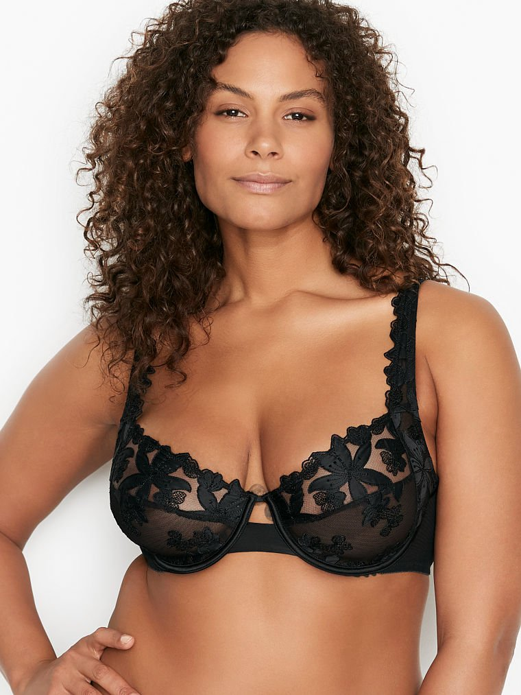 Best Demi Bra for Plus-sizes & Larger Busts Victoria's Secret - Unlined Embroidered 3-Piece Full Cup Demi Bra