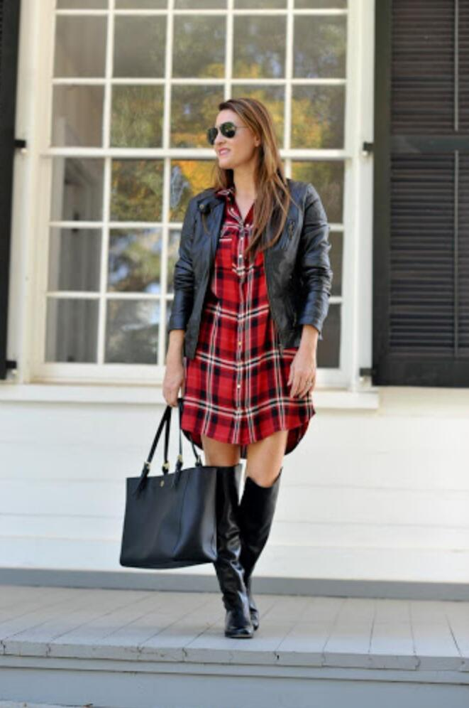 Thigh high boots an oversized flannel shirt bike shorts How-to and What to Wear with Thigh High Boots