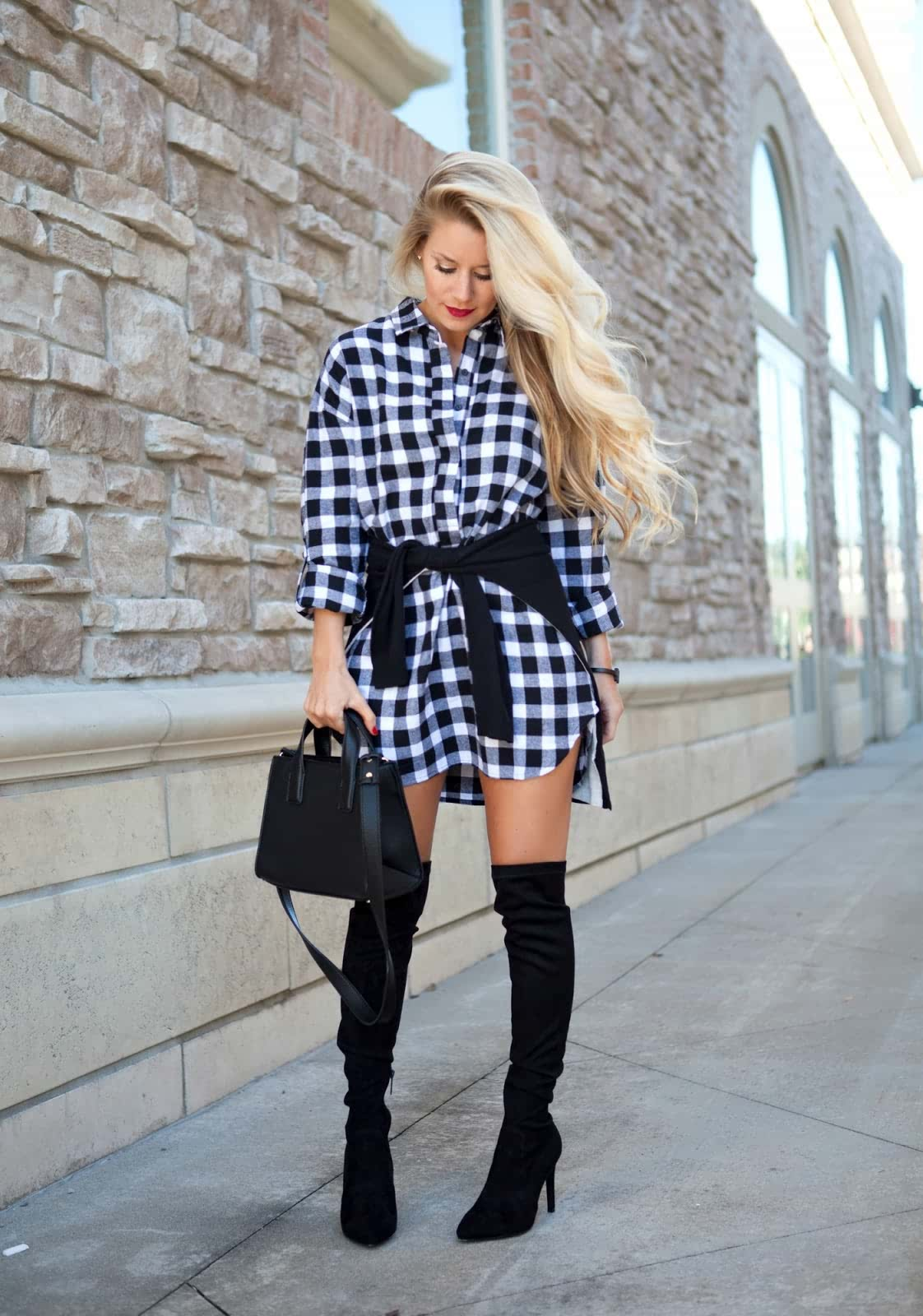 Thigh high boots outfit ideas plaid pinafore dresses How-to and What to Wear with Thigh High Boots