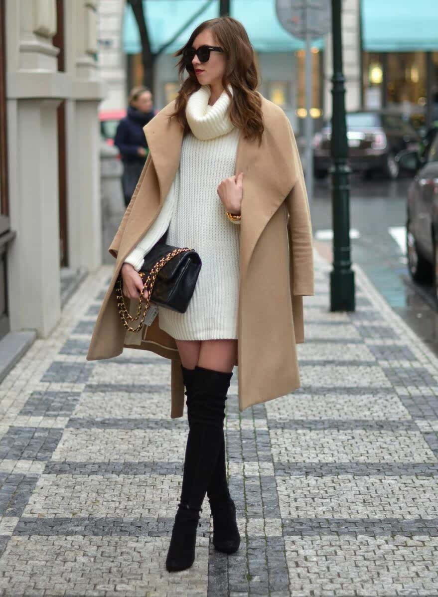 Thigh high boots oversize jackets cardigan coats How-to and What to Wear with Thigh High Boots