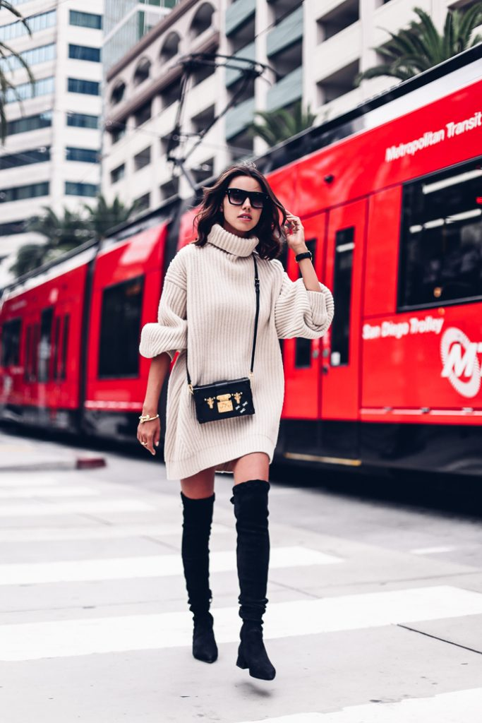 Thigh high boots with Oversized knitwear How-to and What to Wear with Thigh High Boots
