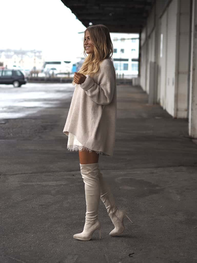 Thigh high boots with monochrome skirt top How-to and What to Wear with Thigh High Boots