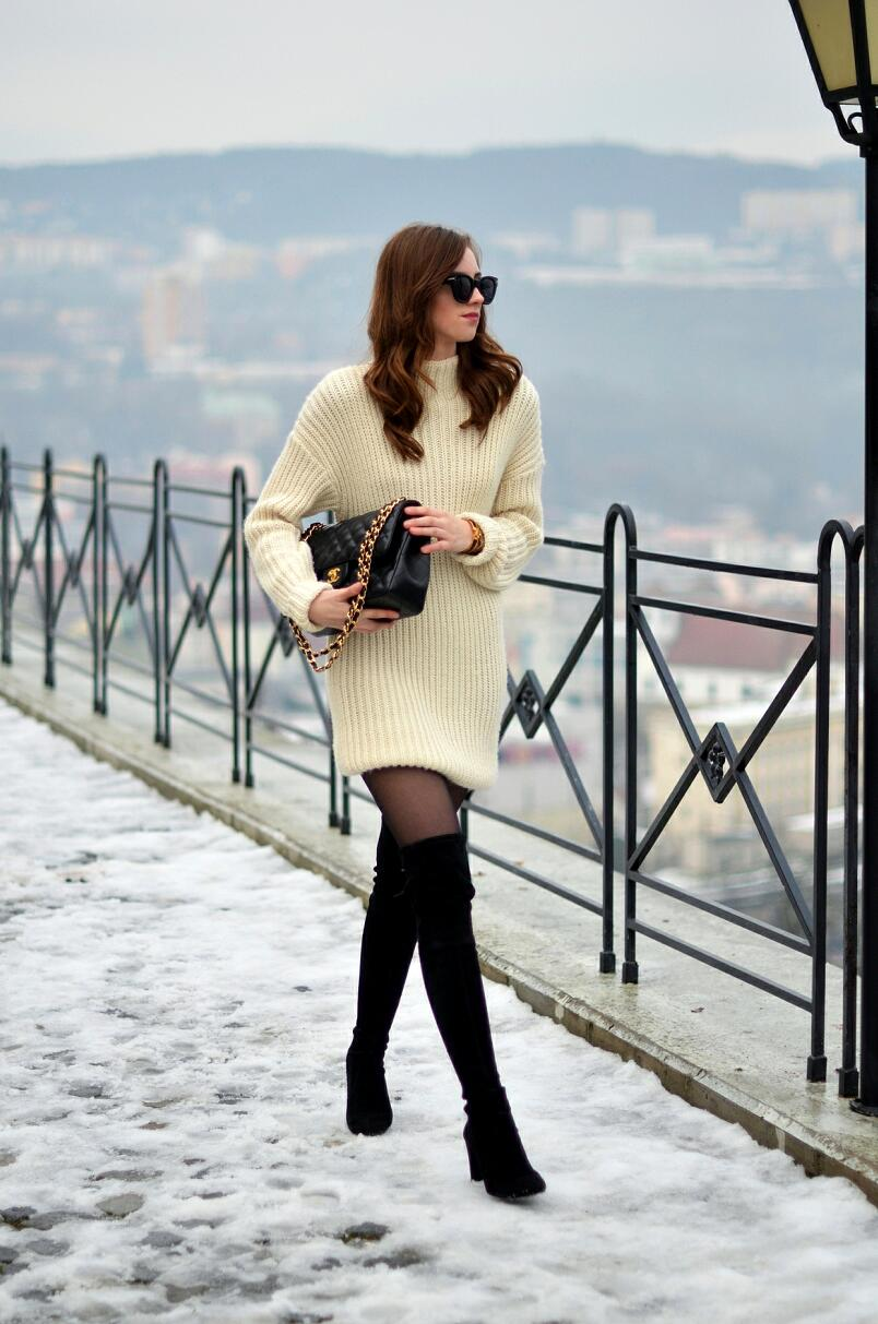 winter outfit ideas for girls Thigh high boots thick tights How-to and What to Wear with Thigh High Boots