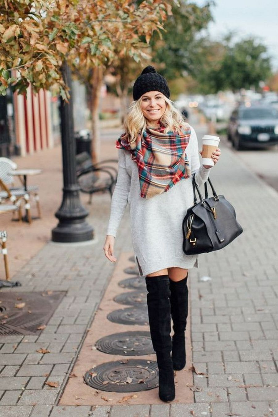 winter outfit s Thigh high boots oversized sweater dresses How-to and What to Wear with Thigh High Boots
