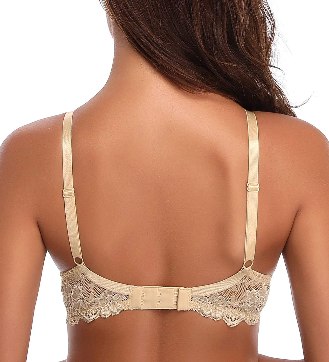 back view of Deyllo Women's Push Up Lace Bra Comfort Padded Underwire Bra Lift Up Add One Cup
