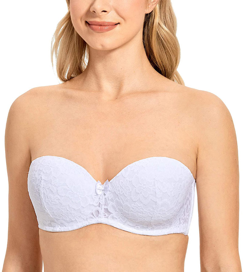 DELIMIRA Women's Underwire Lace Strapless Bra for Small Chested for Wedding