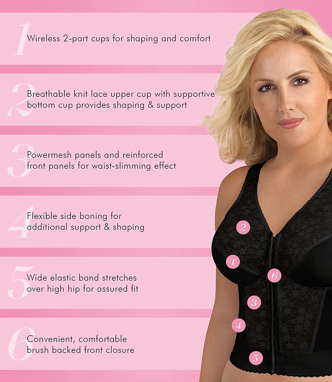 Exquisite Form - Women's Plus Size Fully Front-Close Lace Posture Bra