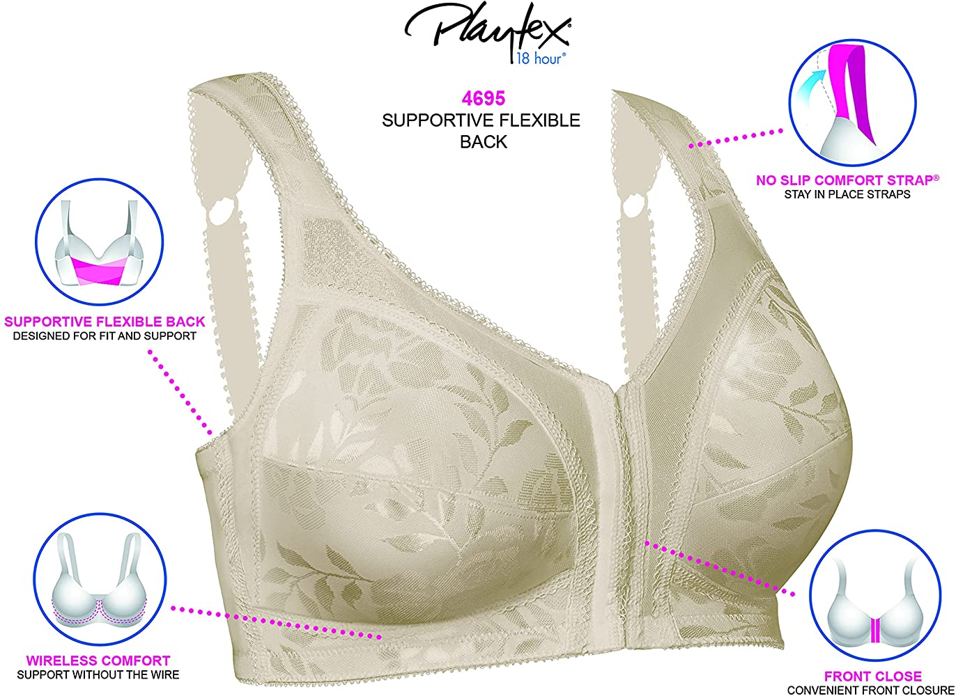 Playtex - Women's 18-Hour Front-Close Wire-free Bra with Flex Back