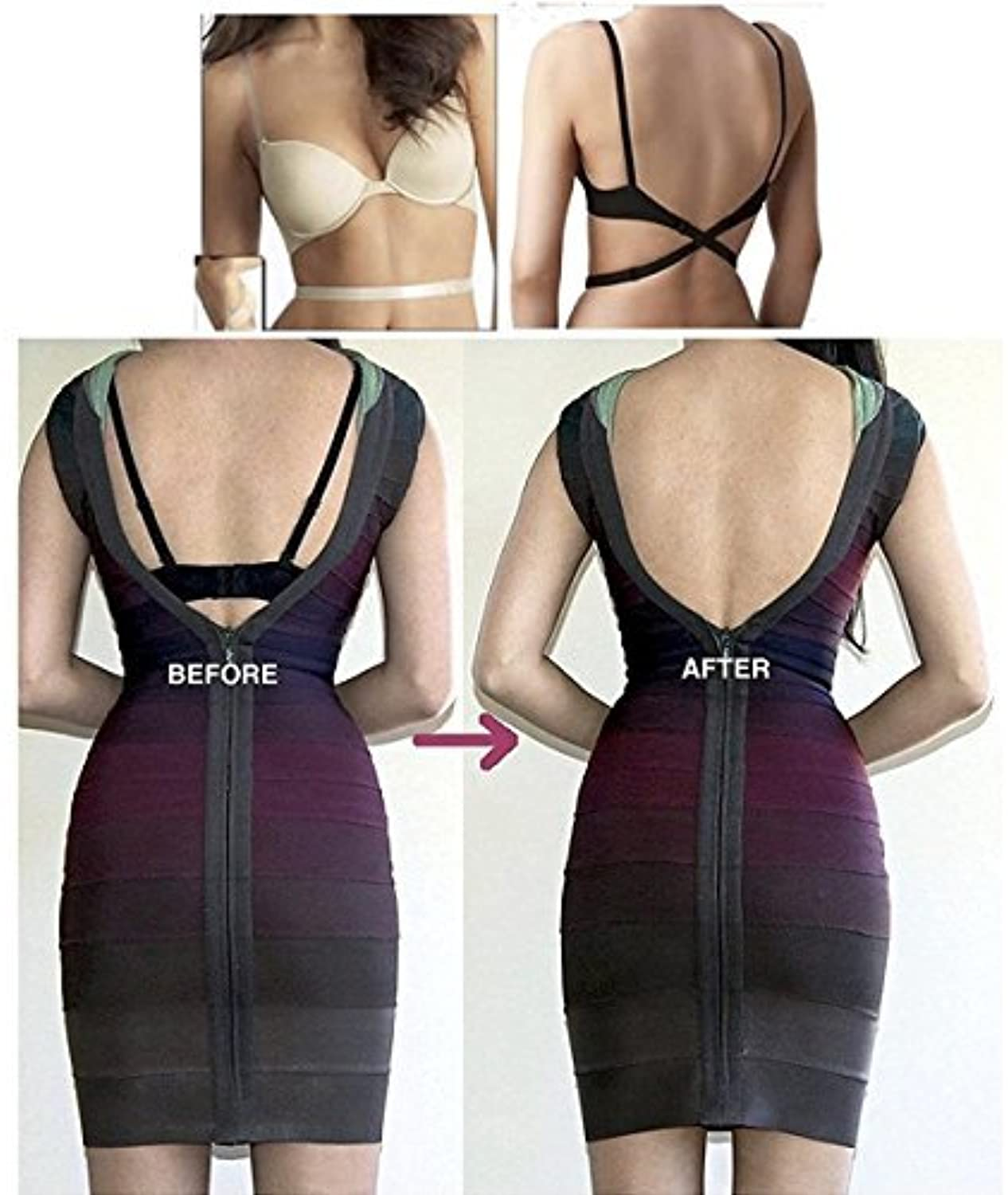 before and after using  Low Back Bra Converter Straps